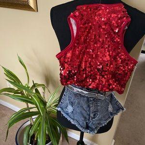 Red Halter Top w/ Denim Shorts
